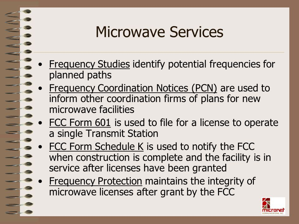 Microwave Services Frequency Studies identify potential frequencies for planned paths.