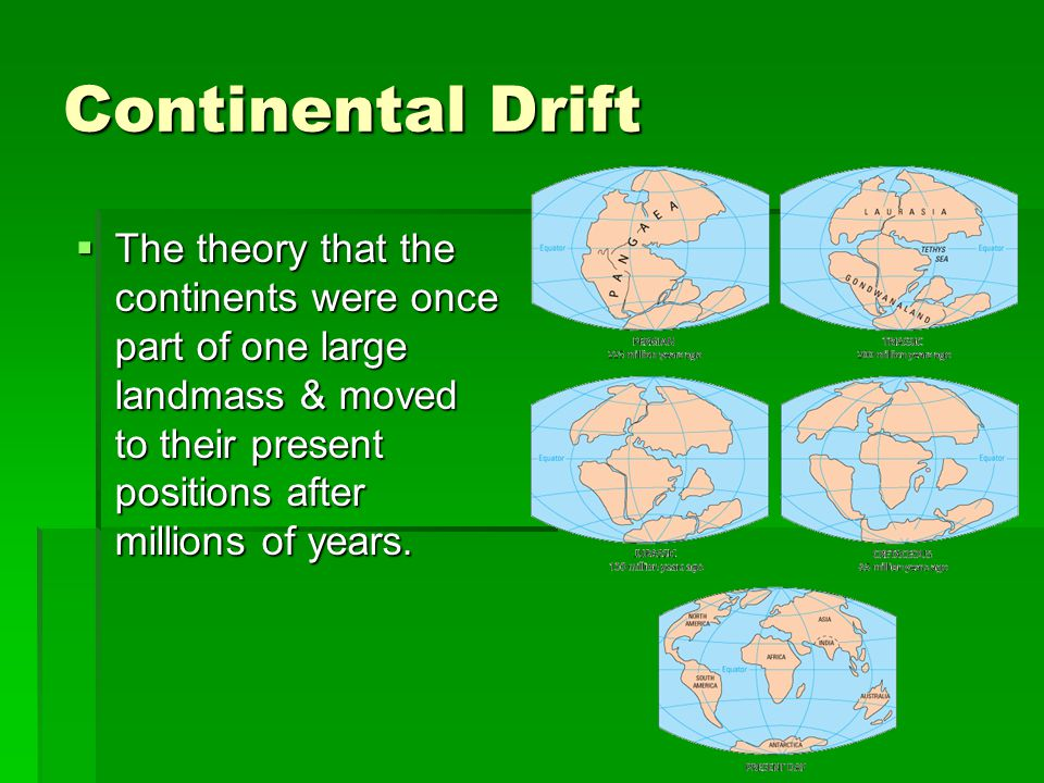 Continental Drift The theory that the continents were once part of one large landmass & moved to their present positions after millions of years.