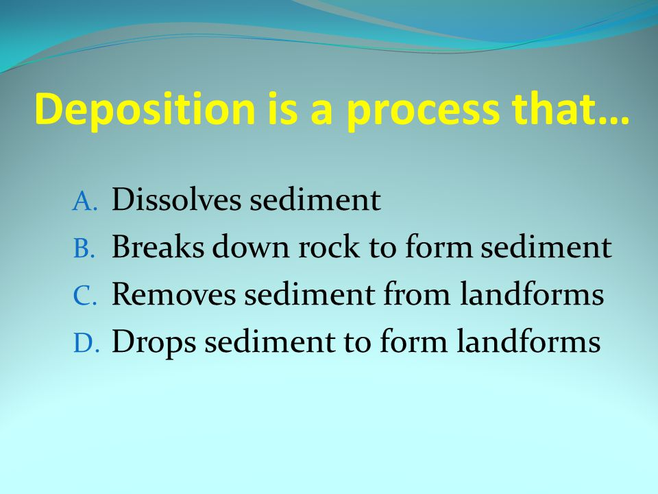 Deposition is a process that…