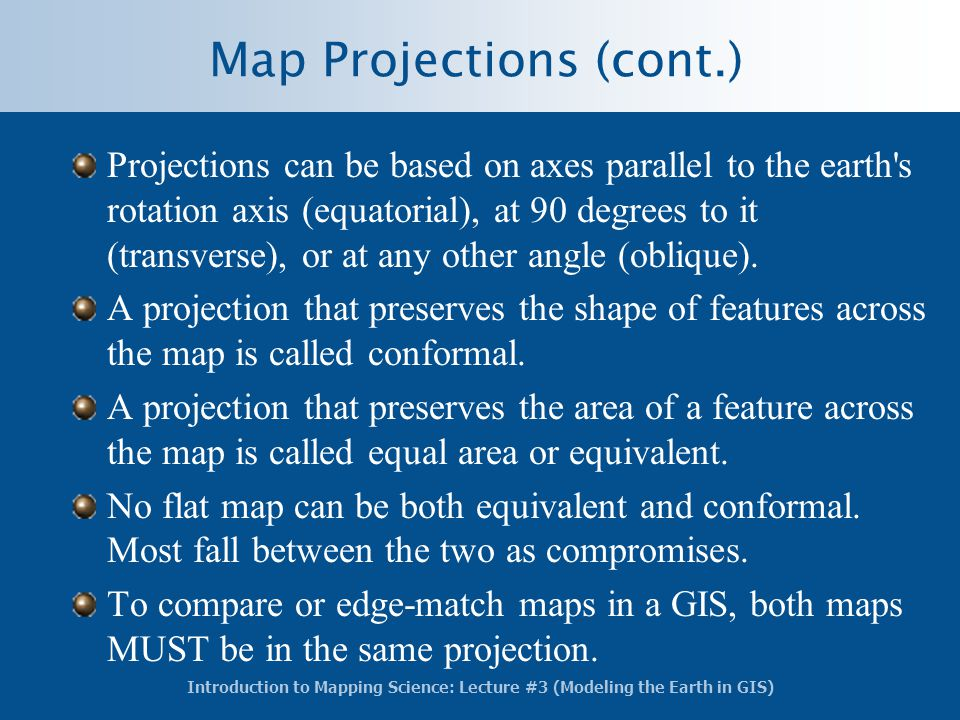 Map Projections (cont.)