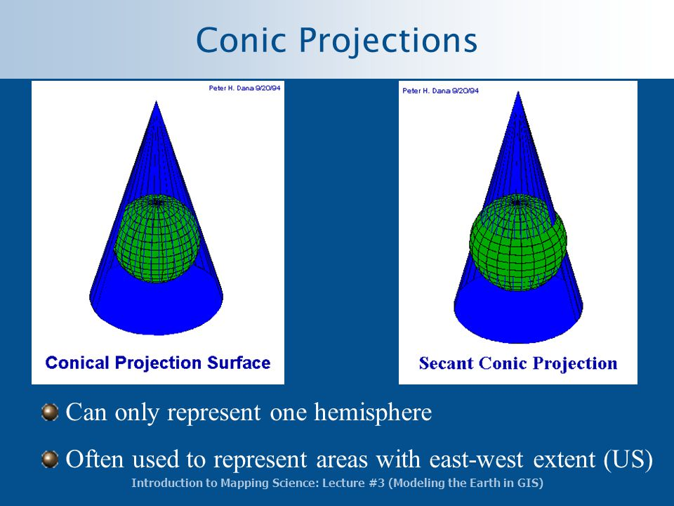 Conic Projections Can only represent one hemisphere