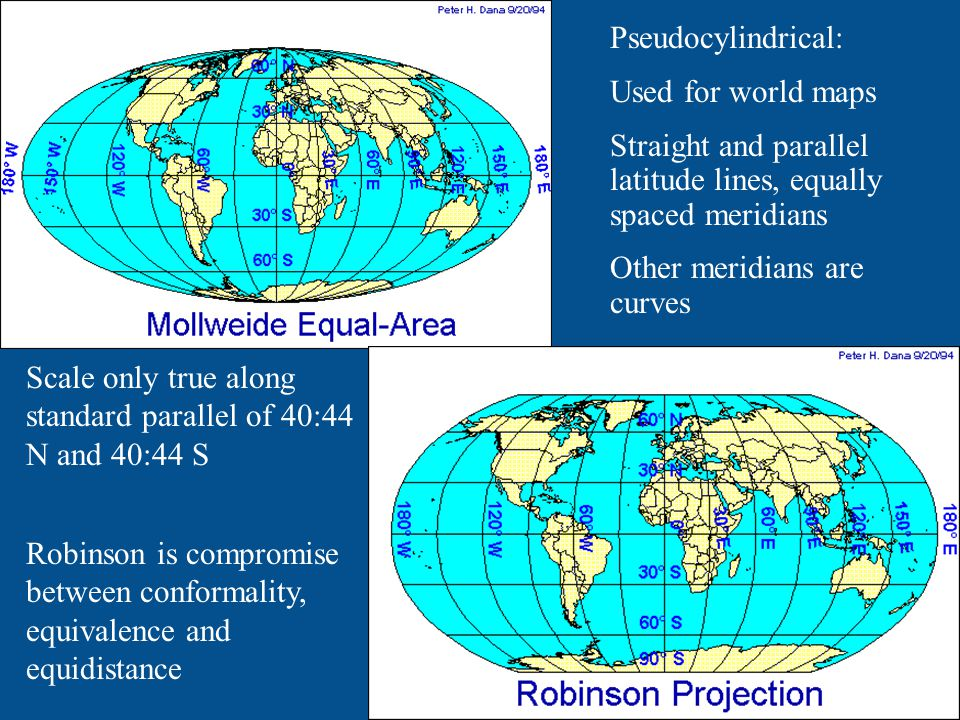 Pseudocylindrical: Used for world maps. Straight and parallel latitude lines, equally spaced meridians.
