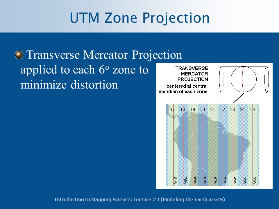 UTM Zone Projection Transverse Mercator Projection