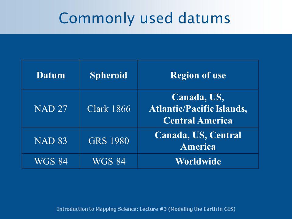 Commonly used datums Datum Spheroid Region of use NAD 27 Clark 1866