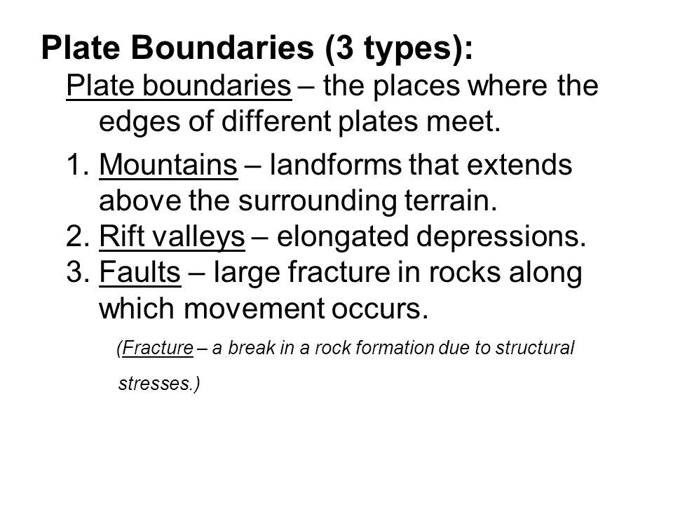 Plate Boundaries (3 types): Plate boundaries – the places where the edges of different plates meet.