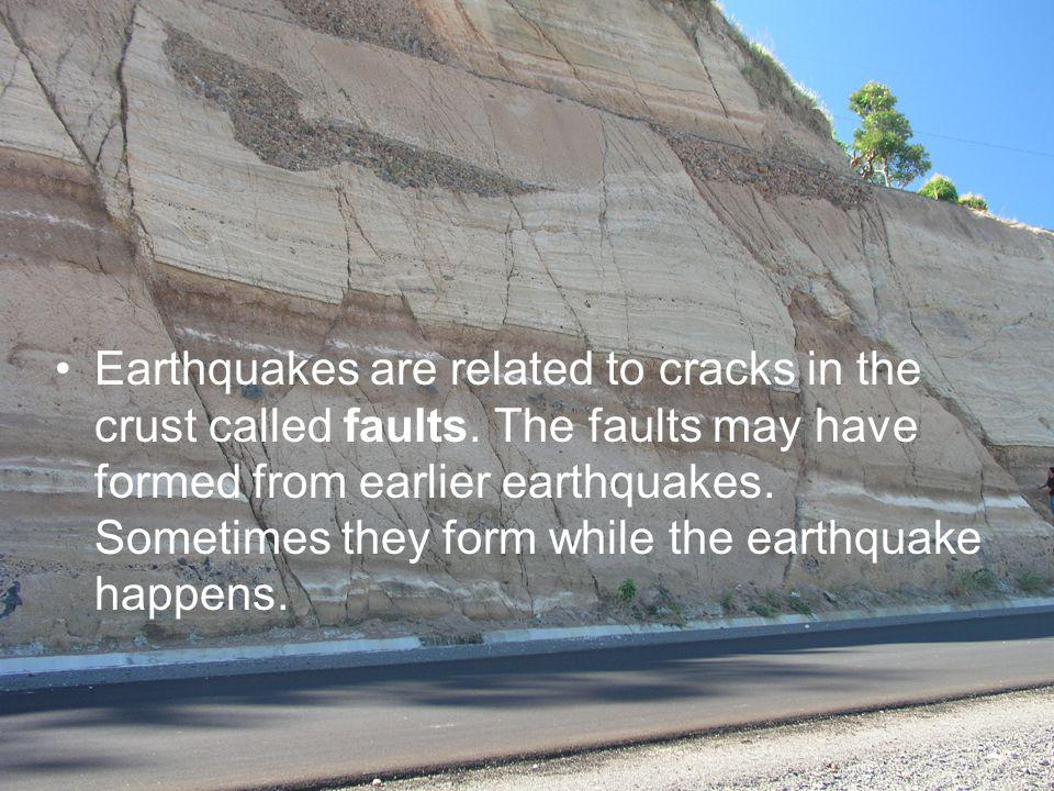 Earthquakes are related to cracks in the crust called faults