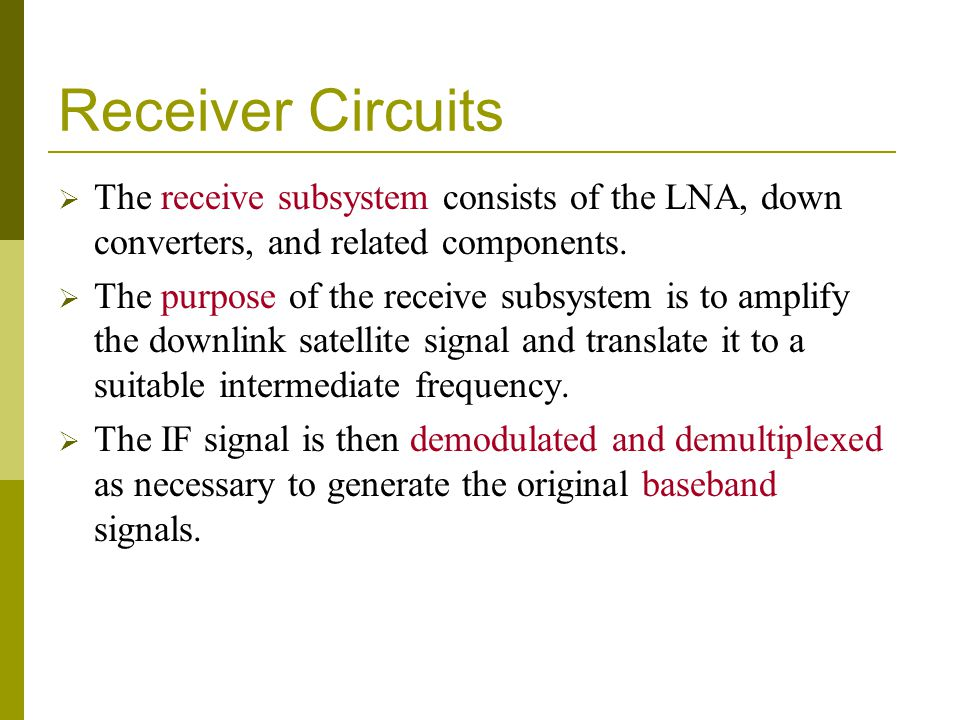 Receiver Circuits The receive subsystem consists of the LNA, down converters, and related components.