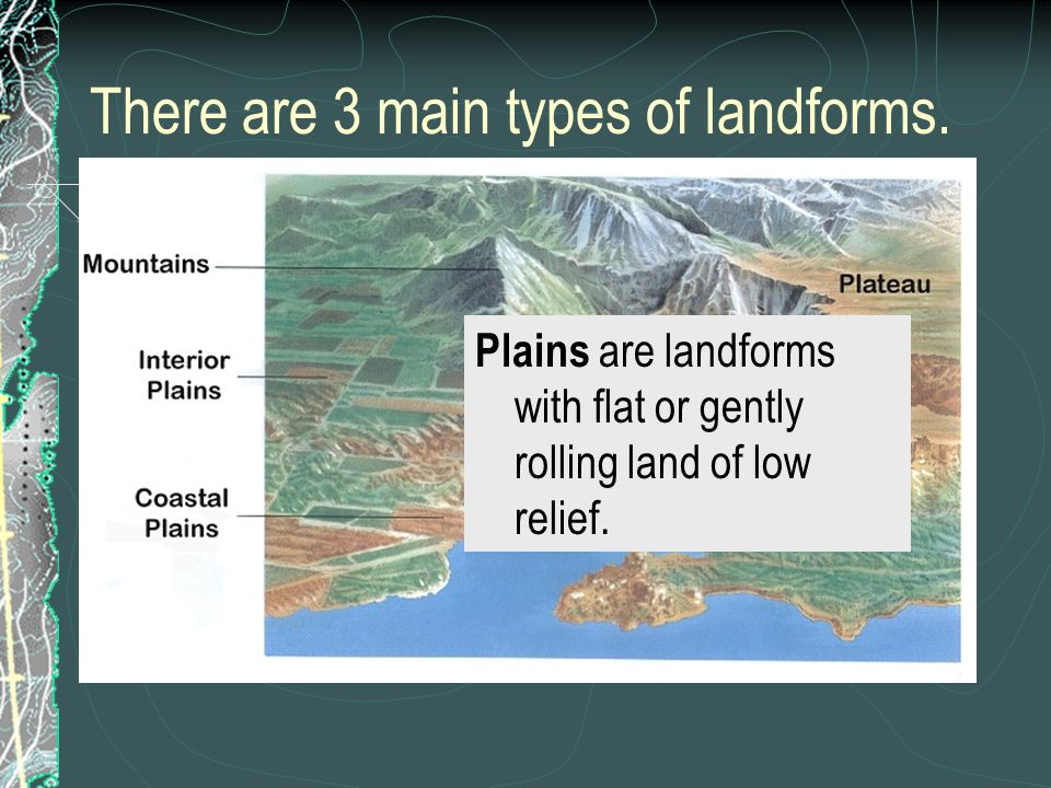 There are 3 main types of landforms.