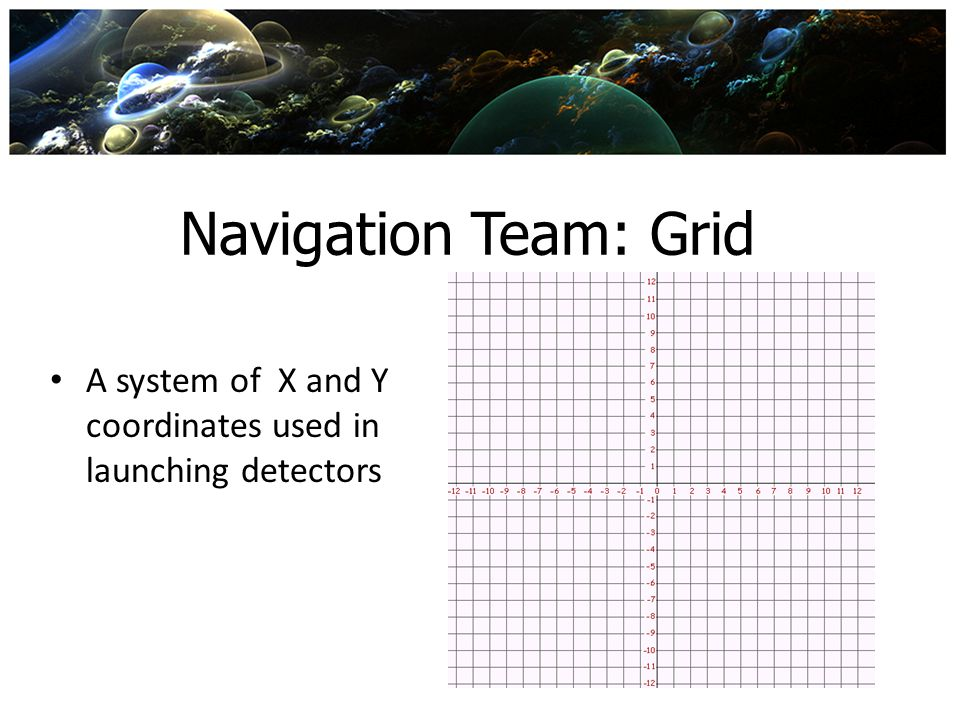 Navigation Team: Grid A system of X and Y coordinates used in launching detectors