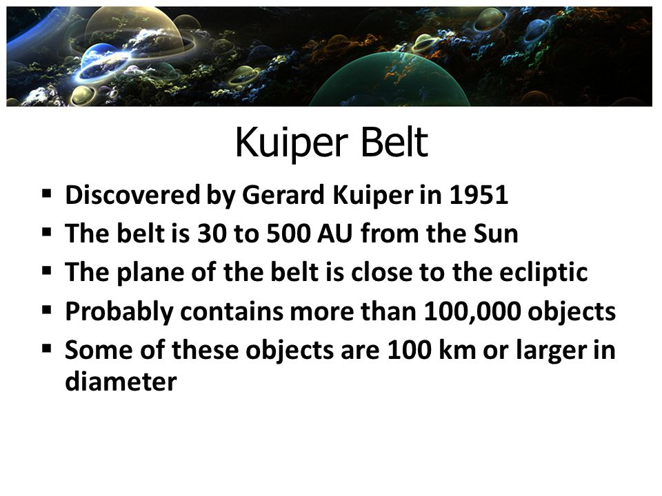 Kuiper Belt Discovered by Gerard Kuiper in 1951