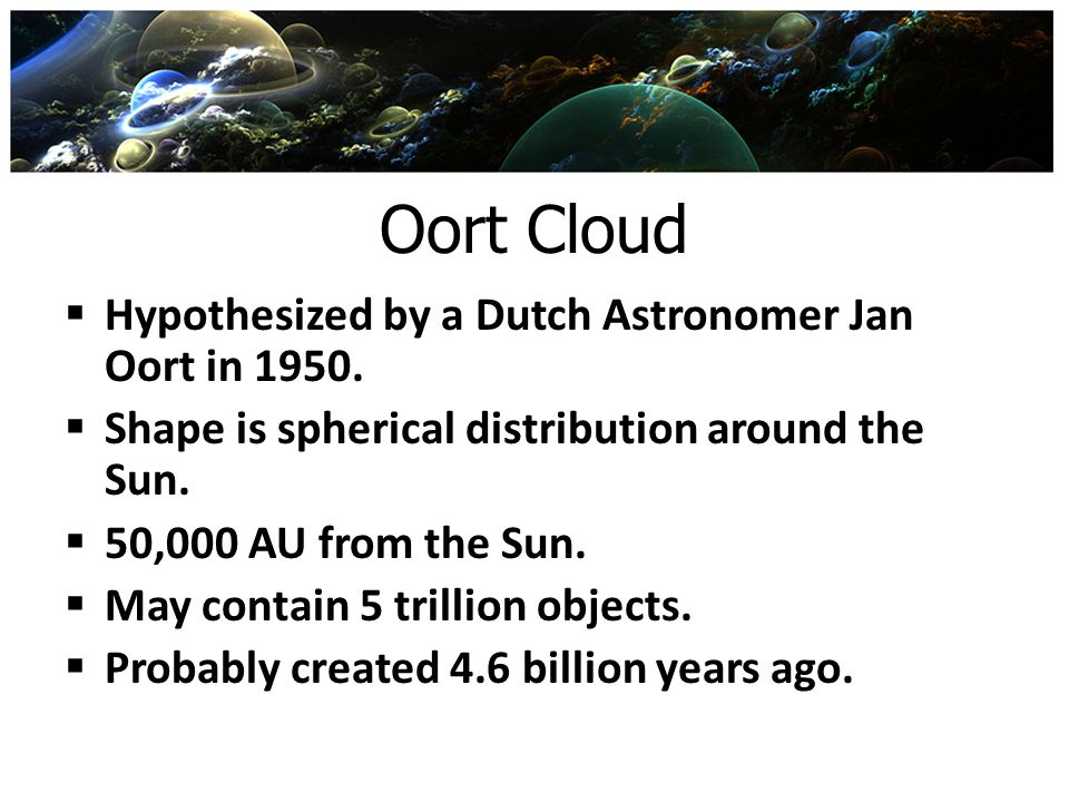 Oort Cloud Hypothesized by a Dutch Astronomer Jan Oort in 1950.