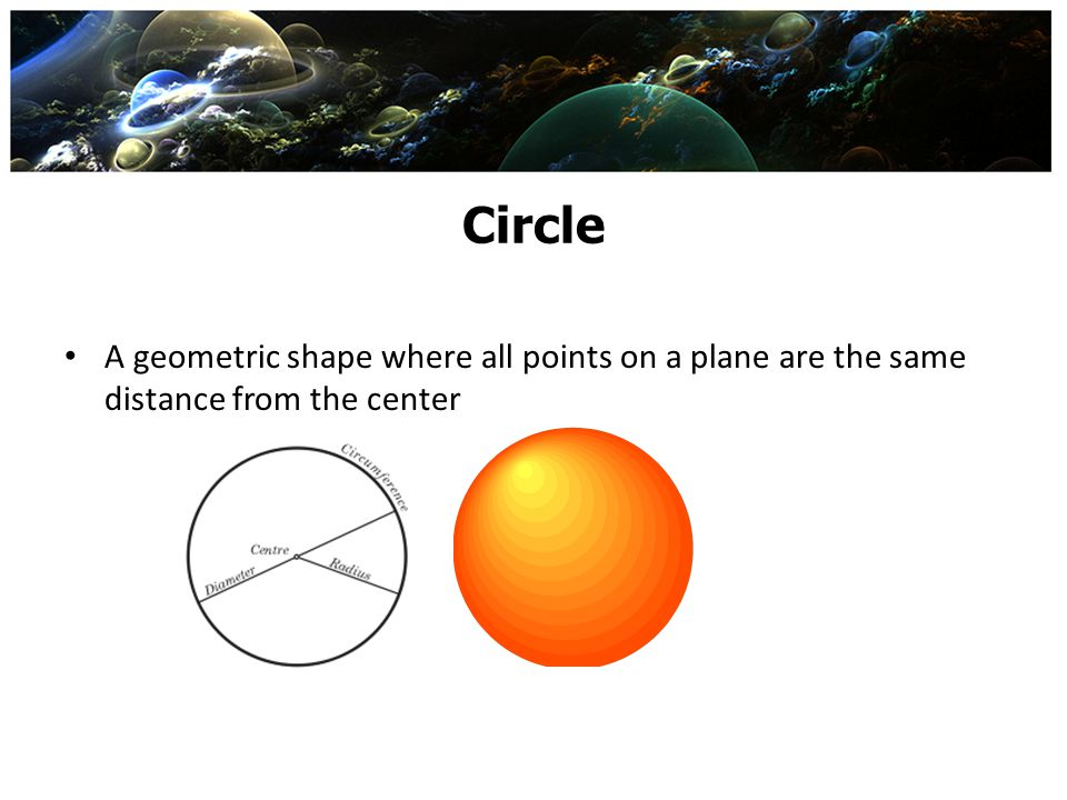 Circle A geometric shape where all points on a plane are the same distance from the center