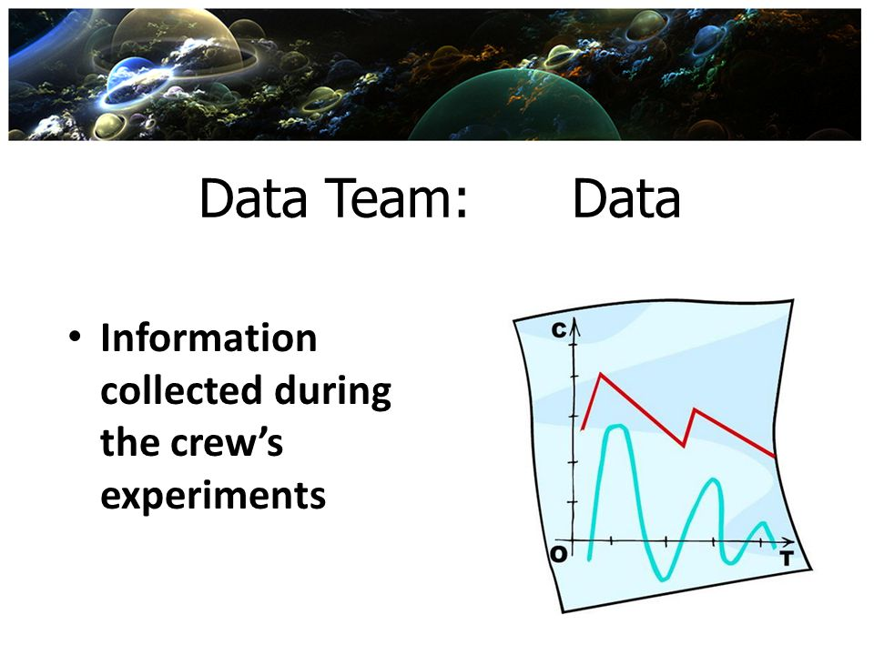 Data Team: Data Information collected during the crew's experiments
