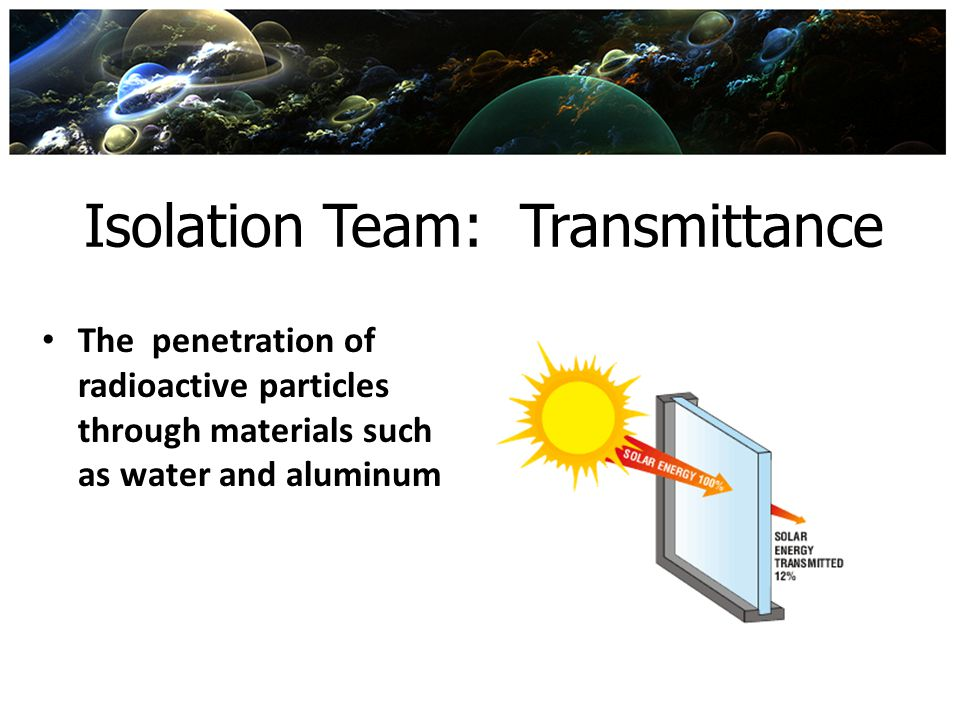 Isolation Team: Transmittance