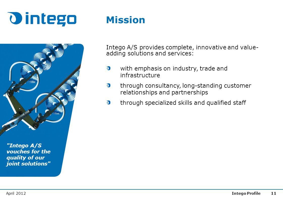 Mission Intego A/S provides complete, innovative and value-adding solutions and services: with emphasis on industry, trade and infrastructure.