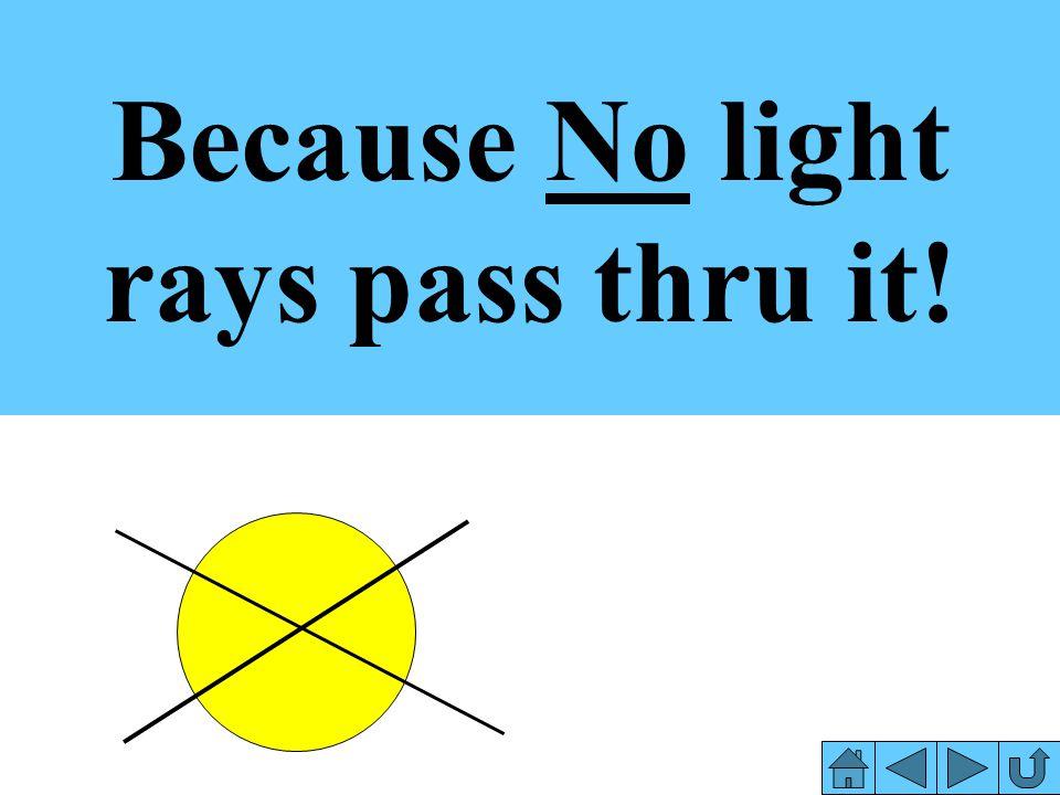 Because No light rays pass thru it!