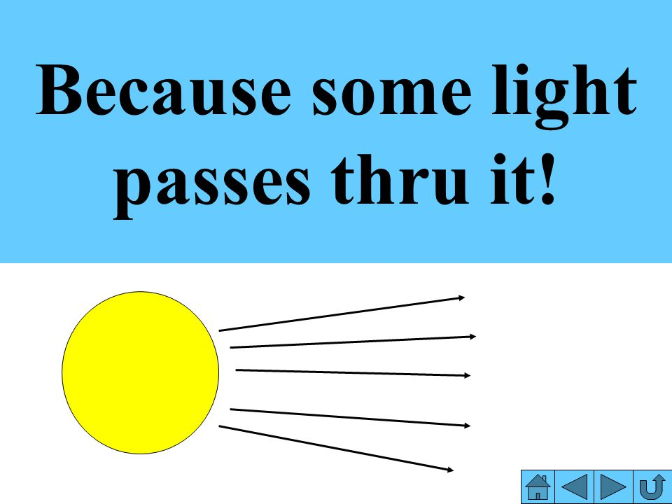 Because some light passes thru it!