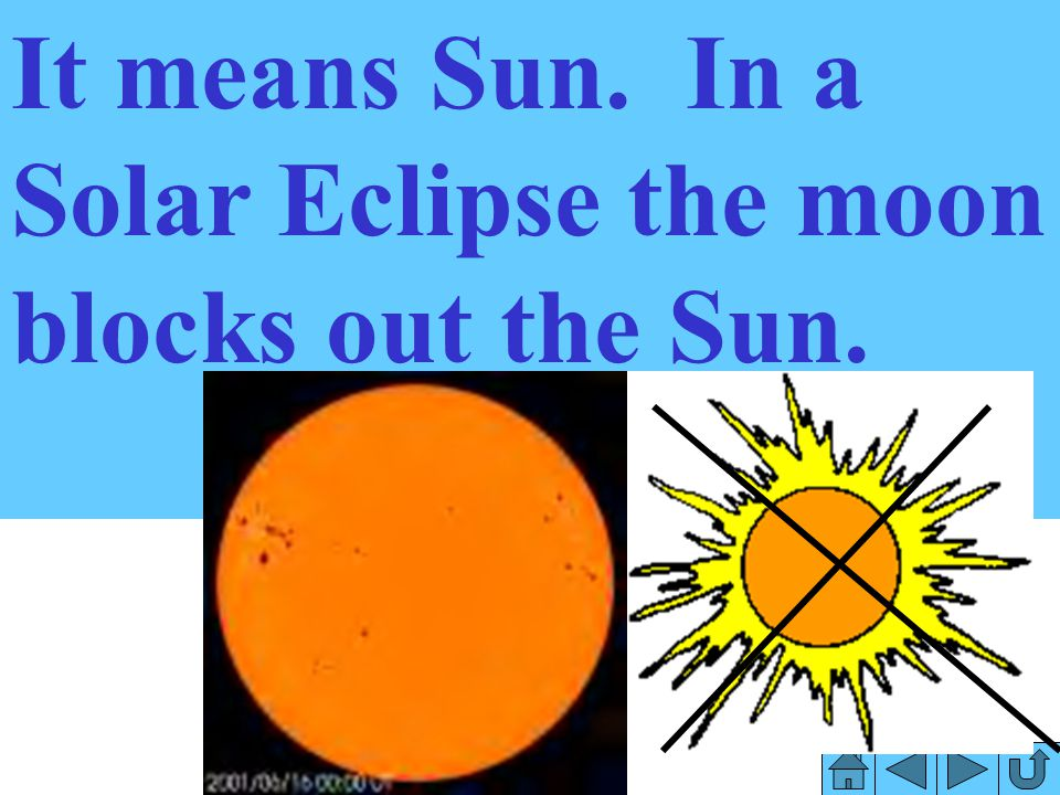 It means Sun. In a Solar Eclipse the moon blocks out the Sun.
