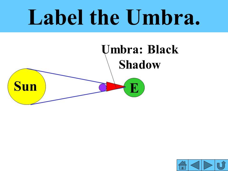 Label the Umbra. Umbra: Black Shadow Sun E