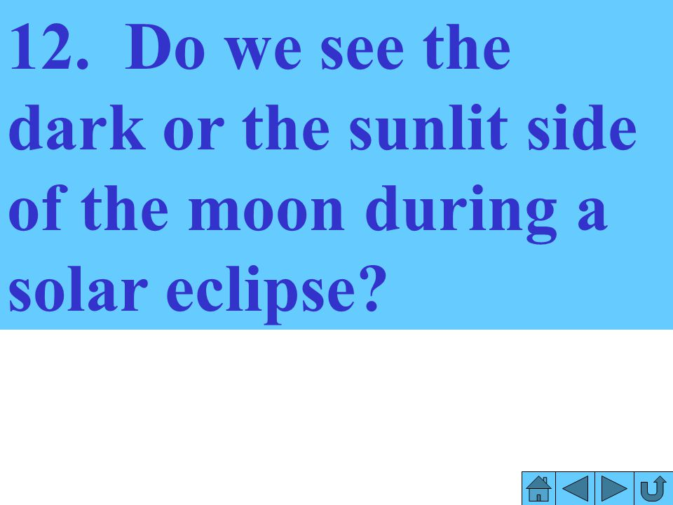 12. Do we see the dark or the sunlit side of the moon during a solar eclipse