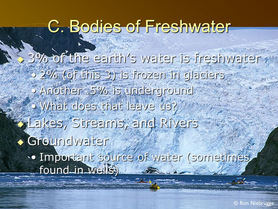 C. Bodies of Freshwater 3% of the earth's water is freshwater