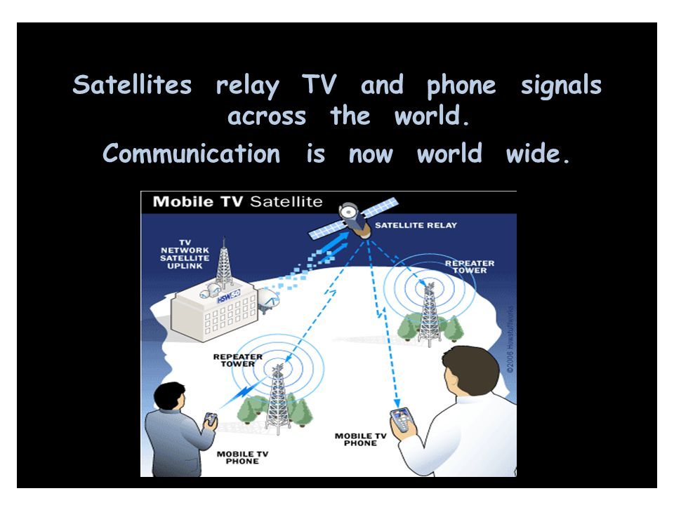 Satellites relay TV and phone signals across the world