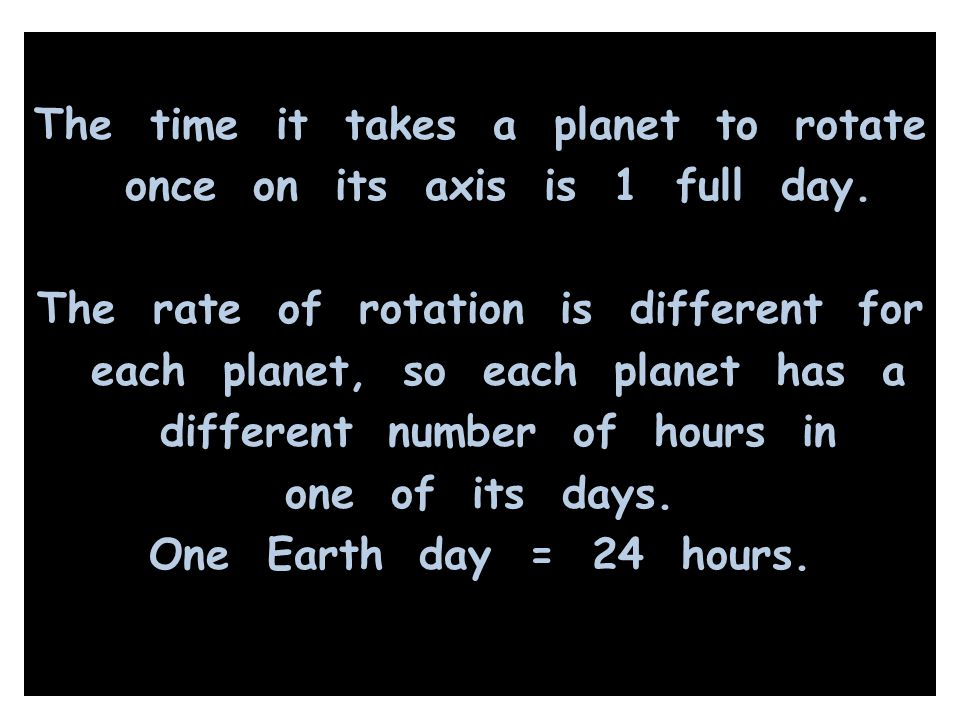 The time it takes a planet to rotate once on its axis is 1 full day