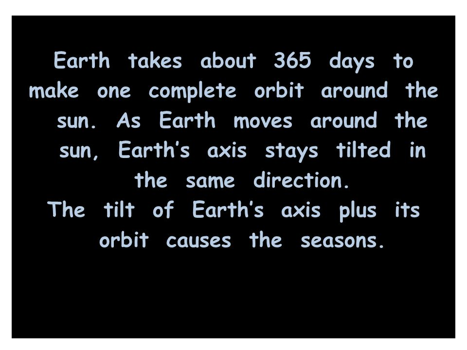 Earth takes about 365 days to make one complete orbit around the sun
