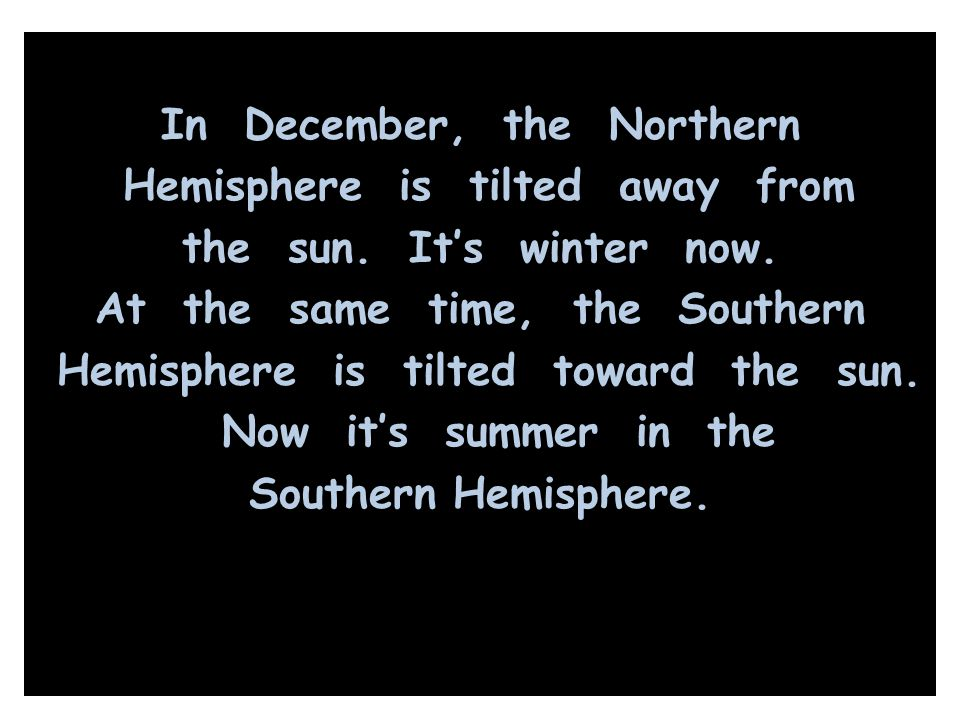In December, the Northern Hemisphere is tilted away from the sun