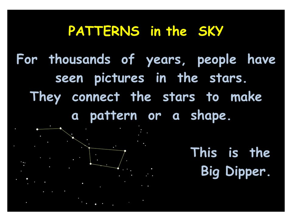 PATTERNS in the SKY For thousands of years, people have seen pictures in the stars.