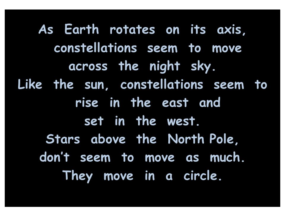 As Earth rotates on its axis, constellations seem to move across the night sky.