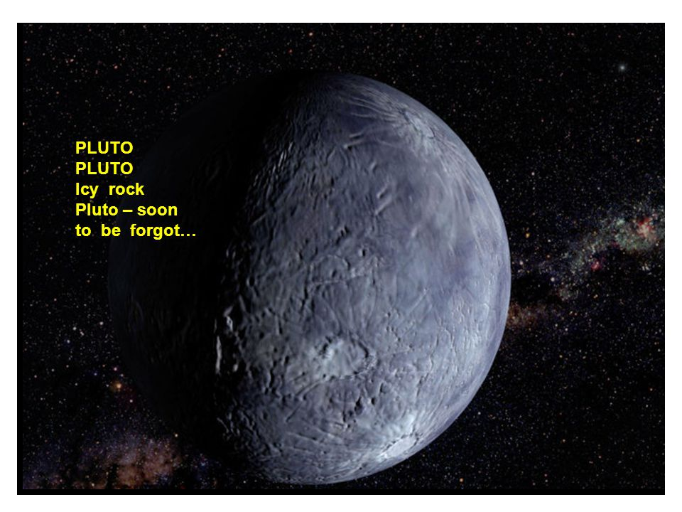 PLUTO Icy rock Pluto – soon to be forgot…