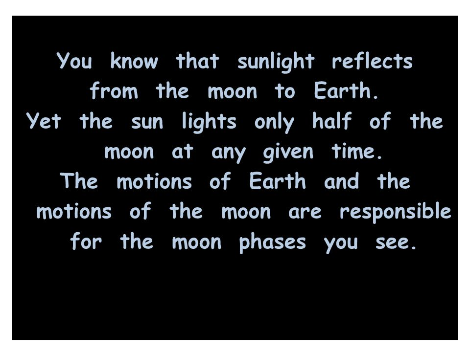 You know that sunlight reflects from the moon to Earth