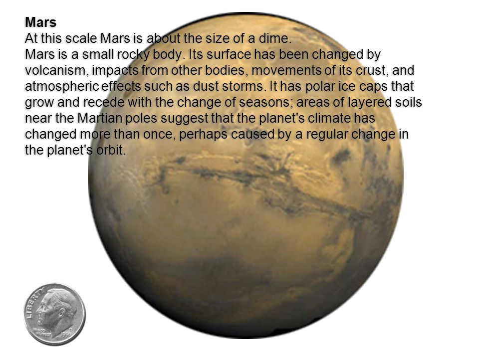 Mars At this scale Mars is about the size of a dime