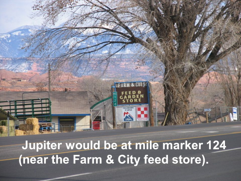 Jupiter would be at mile marker 124 (near the Farm & City feed store).