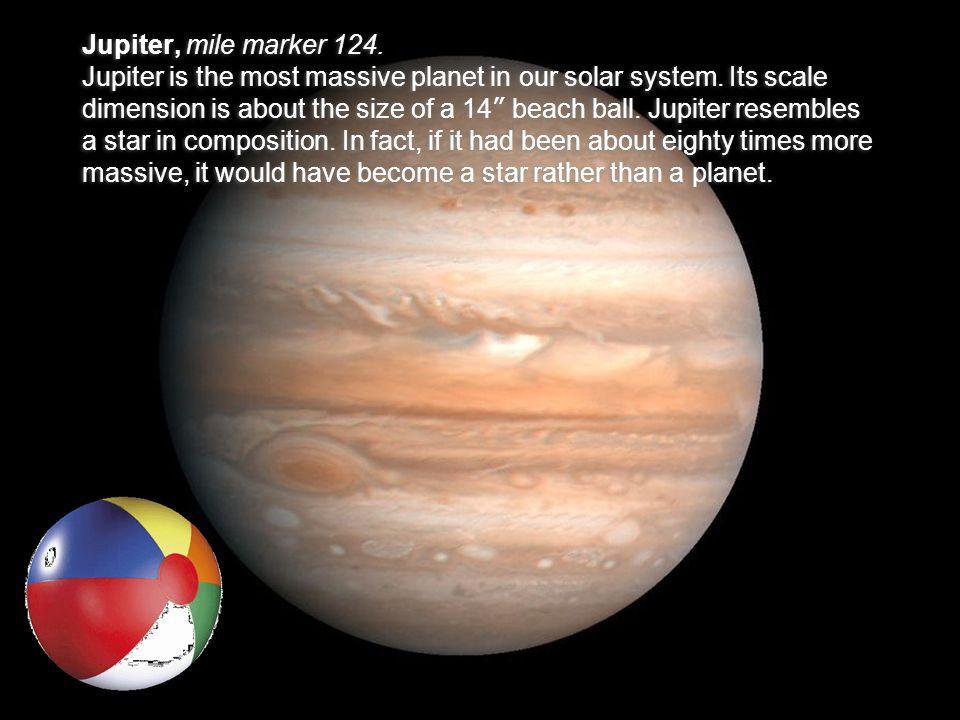 Jupiter, mile marker 124. Jupiter is the most massive planet in our solar system.
