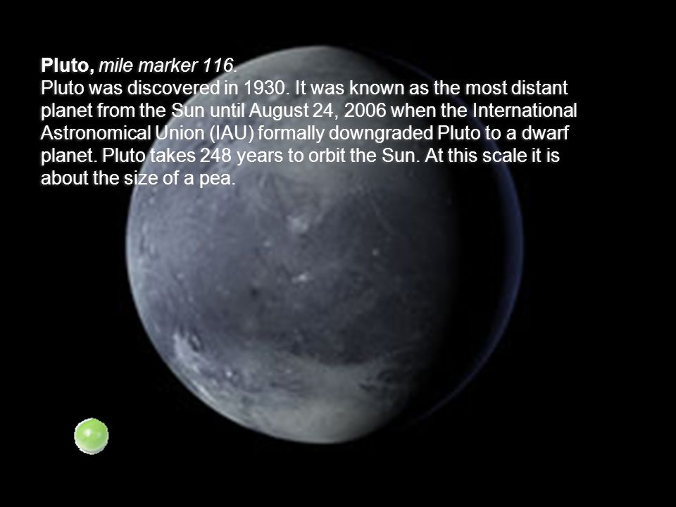 Pluto, mile marker 116. Pluto was discovered in 1930