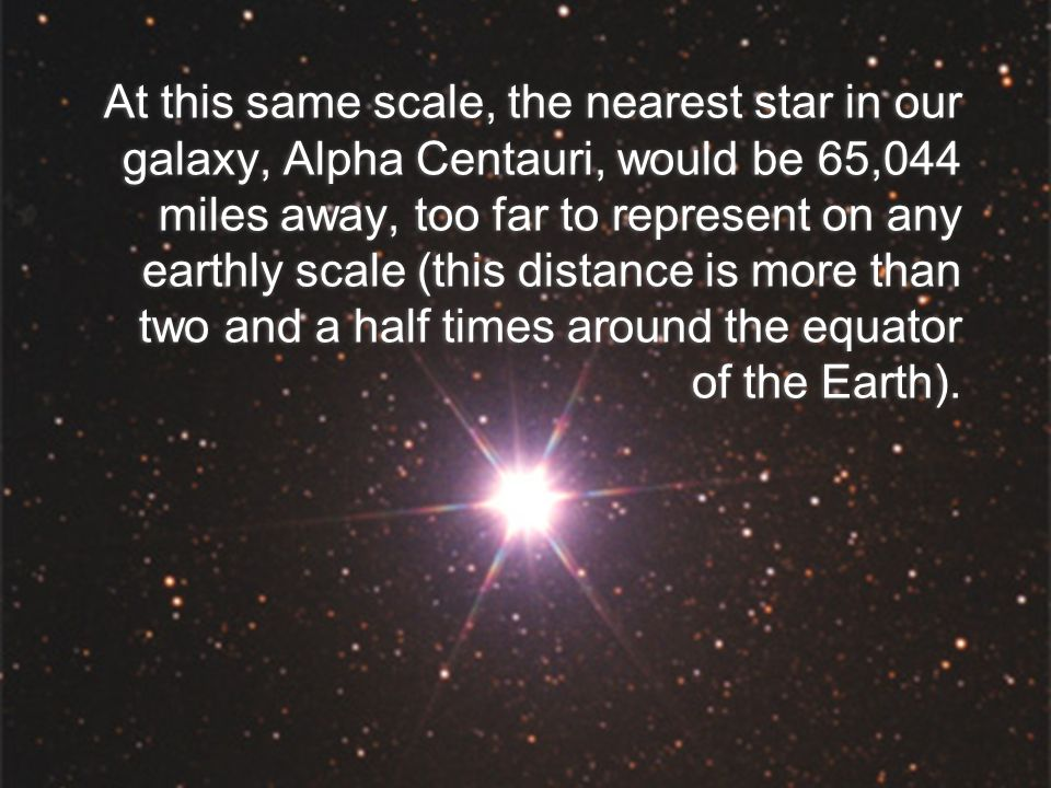 At this same scale, the nearest star in our galaxy, Alpha Centauri, would be 65,044 miles away, too far to represent on any earthly scale (this distance is more than two and a half times around the equator of the Earth).
