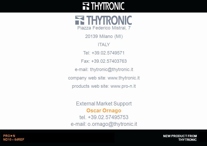 External Market Support Oscar Ornago tel. +39.02.57495753