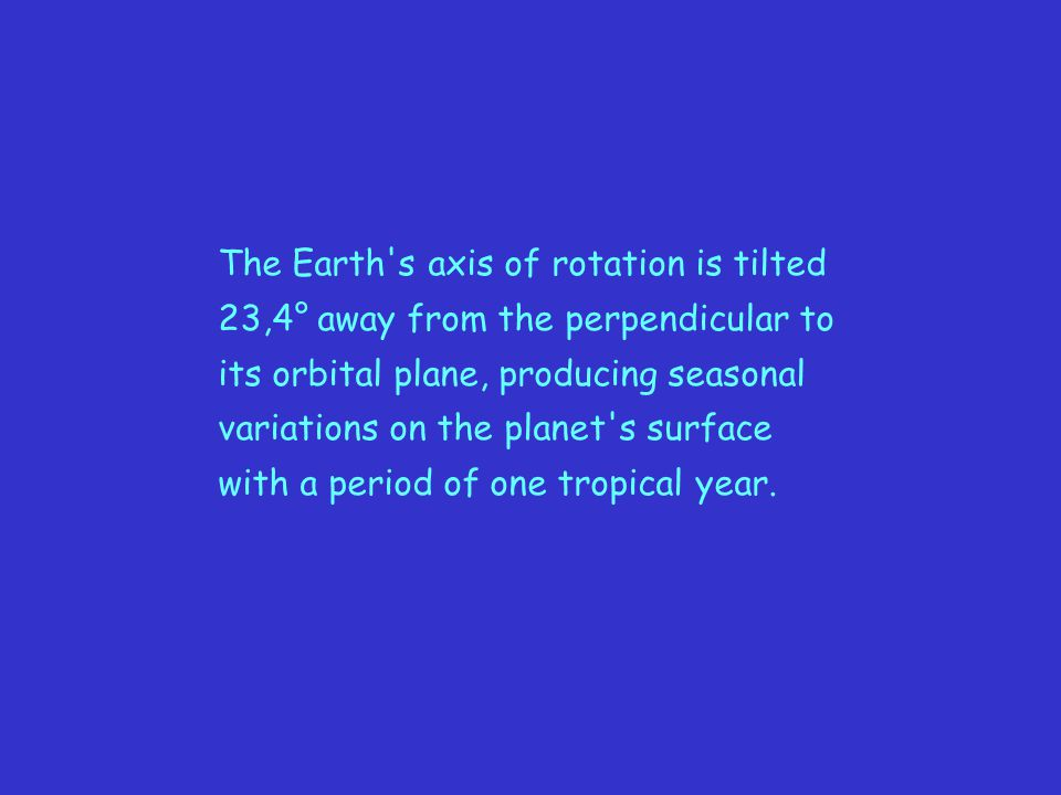 The Earth s axis of rotation is tilted