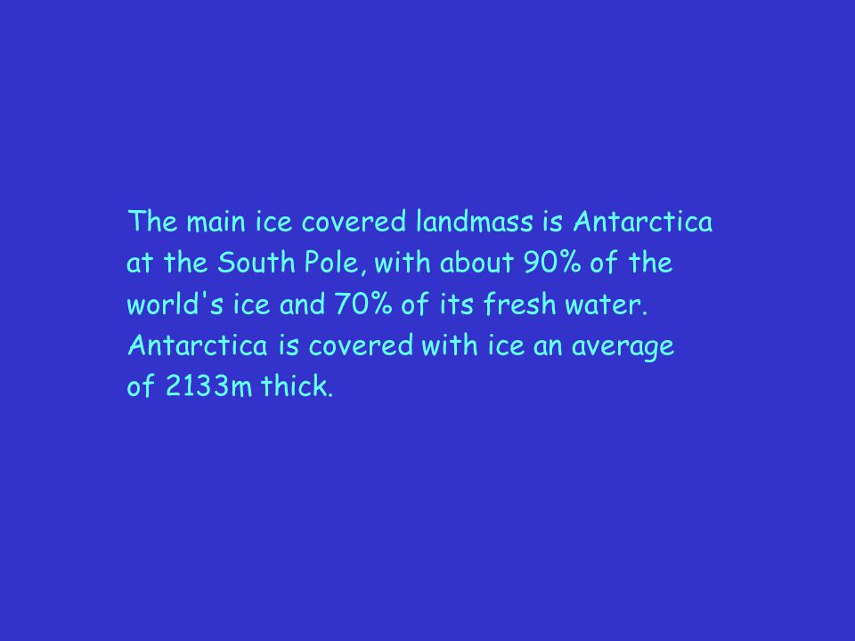 The main ice covered landmass is Antarctica
