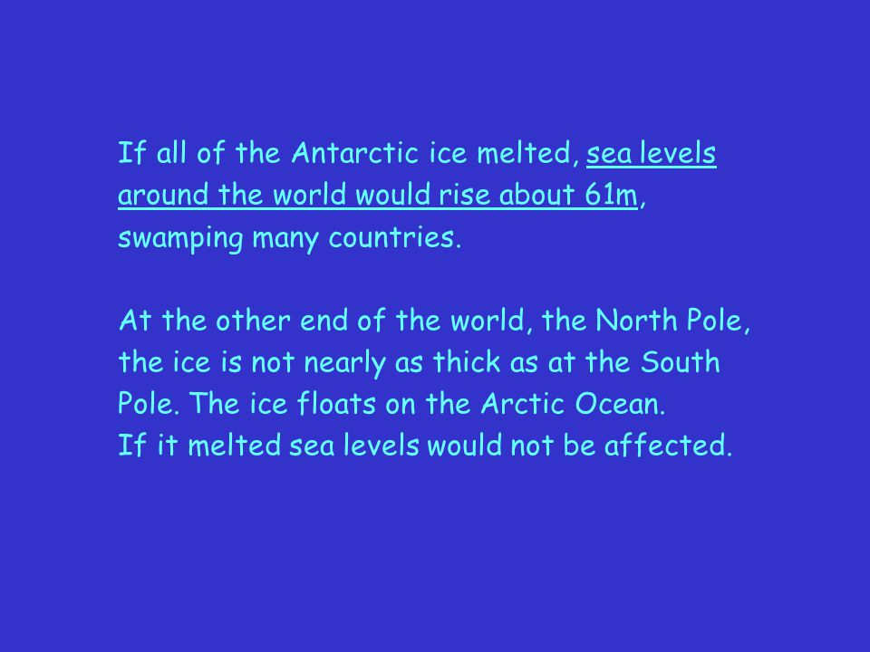 If all of the Antarctic ice melted, sea levels