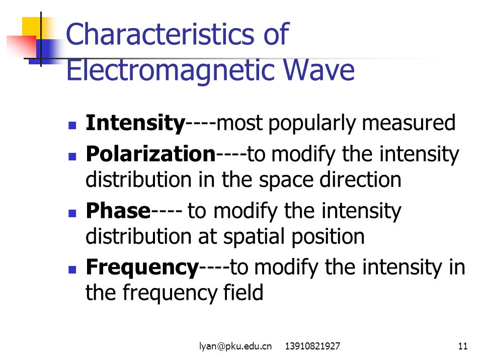 Characteristics of Electromagnetic Wave