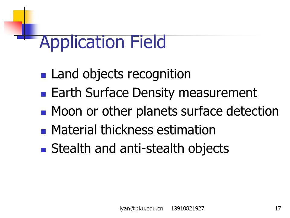 Application Field Land objects recognition