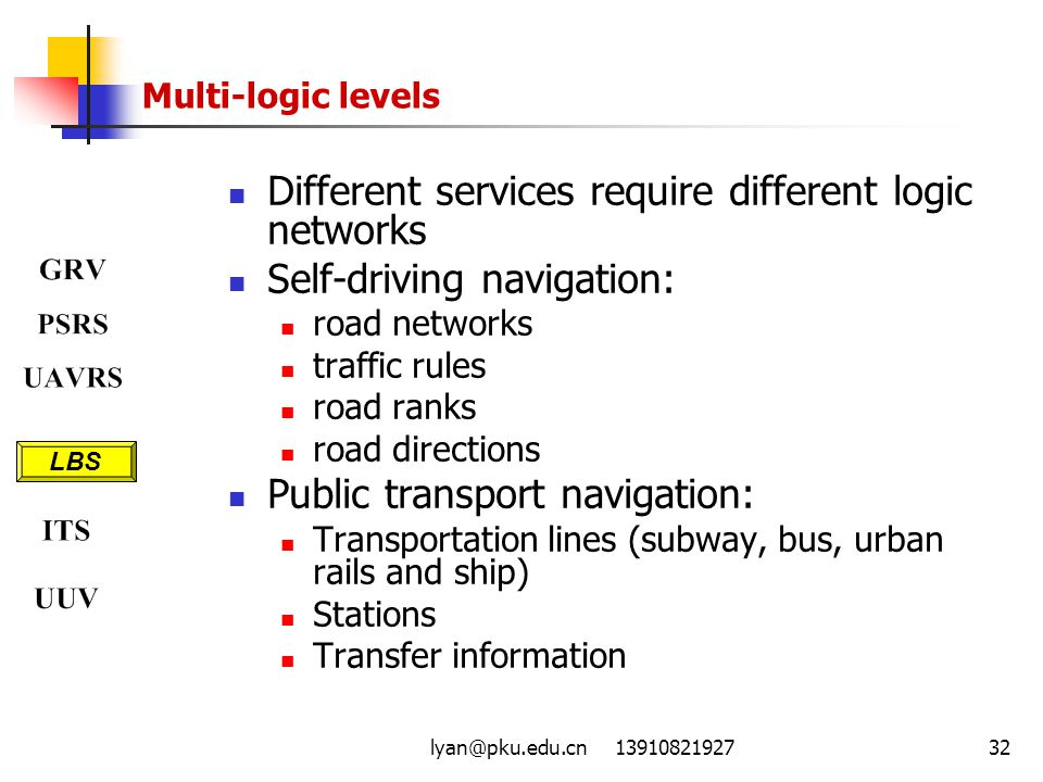 Different services require different logic networks