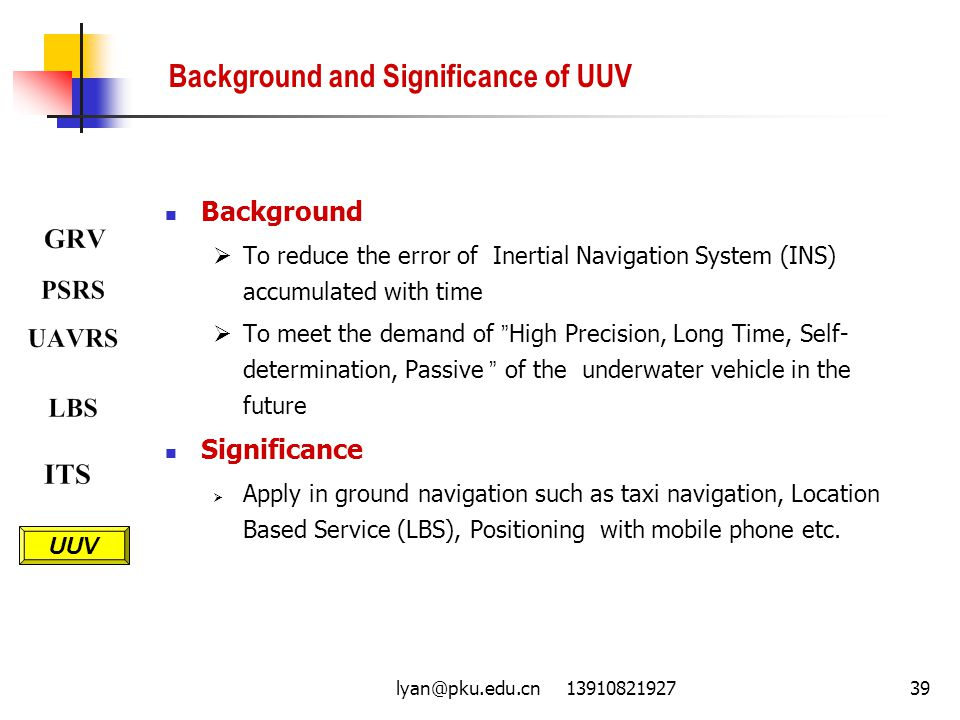 Background and Significance of UUV
