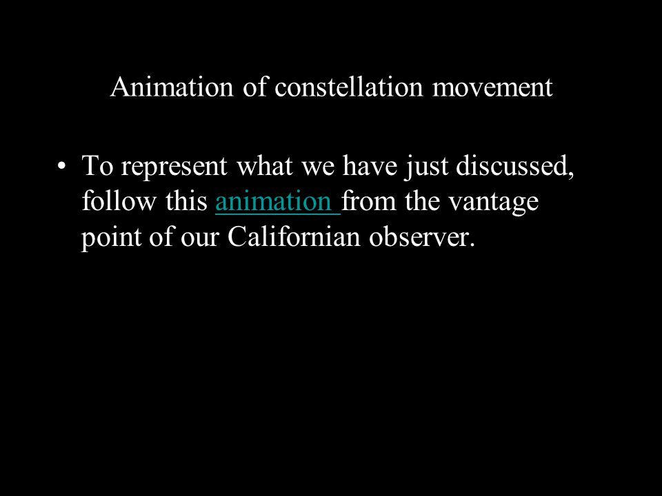 Animation of constellation movement
