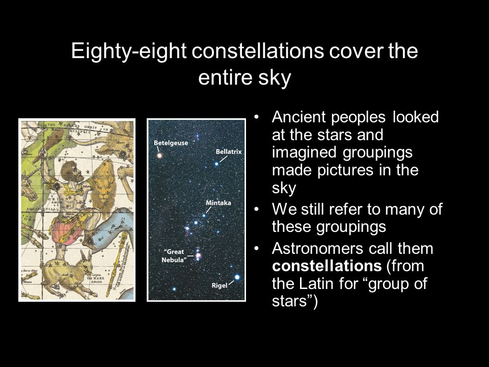 Eighty-eight constellations cover the entire sky
