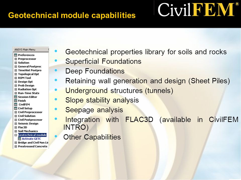 Geotechnical module capabilities