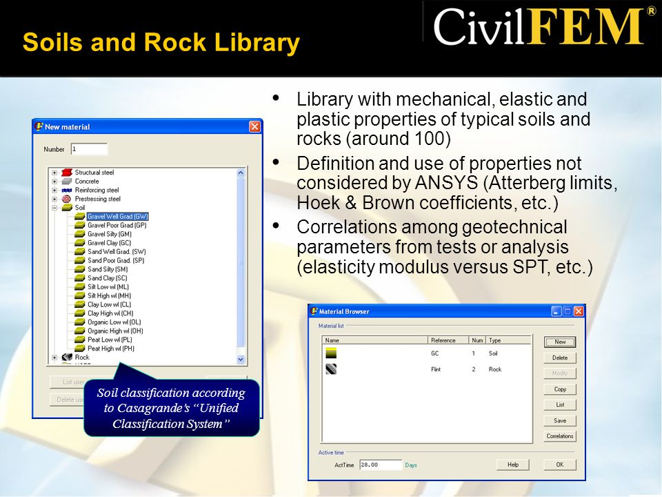 Soils and Rock Library Library with mechanical, elastic and plastic properties of typical soils and rocks (around 100)